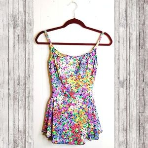 VINTAGE 80s Skirted Floral Neon Swimsuit